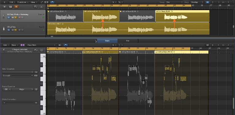 Fig 6 A vocal harmony track is created (from a copy of the lead vocal) with Logic's Flex Pitch