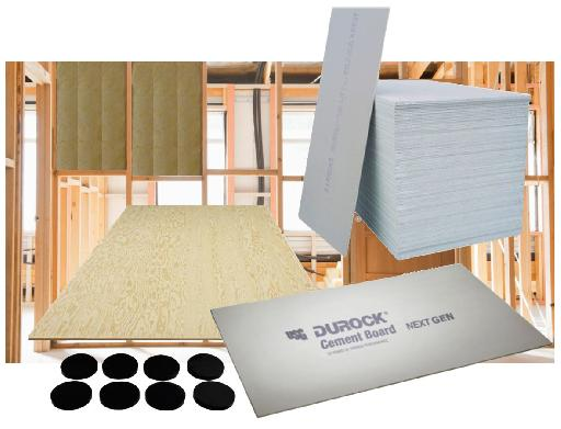 Various construction materials for building a floating room or iso-booth