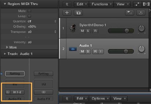 The Input Format button and Input slot can be found towards the top of the channel strip in the Mixer or the Inspector.