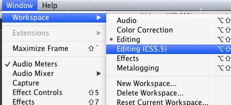 Workspace > Editing (CS 5.55)