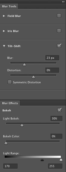 Blur Tools and Blur Effects panels