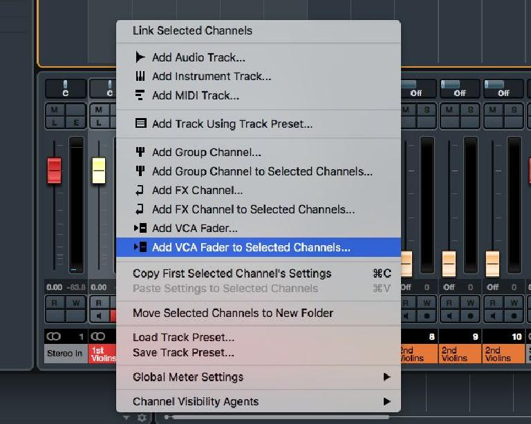 Add VCA Channel for Selected Tracks