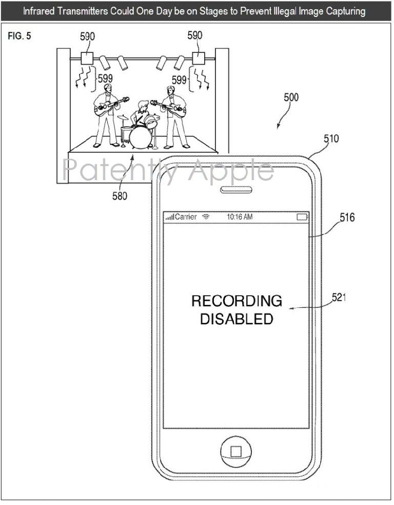 This diagram from the Apple patent details how an iPhone camera could be deactivated at a  concert.
