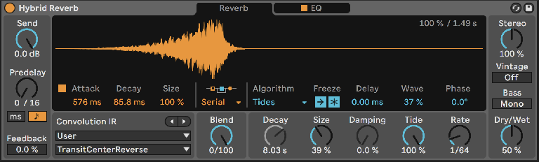 PIC 5: Tweaking Tides with input frozen and fed; Convolution is active via routing but the Blend is set all the way to the algorithmic reverb unit.