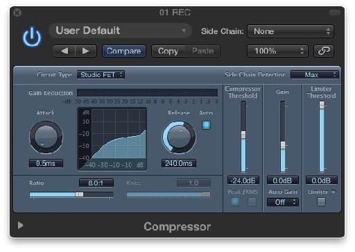 The Logic Compressor's Studio FET Mode.