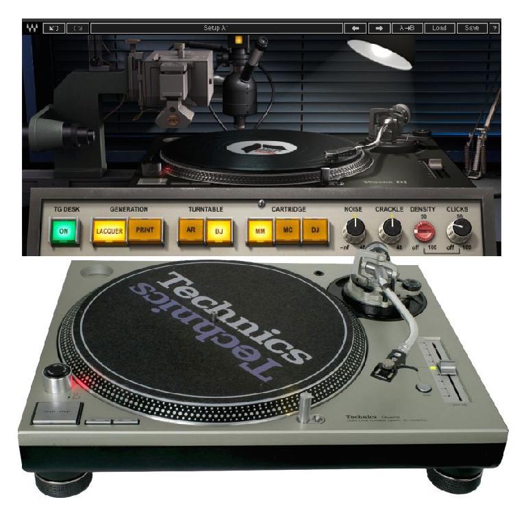 Fig 3 The classic Technics SL-1200 turntable (bottom); Abbey Road Vinyl's model (top)