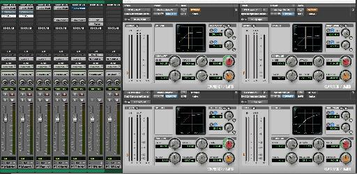 Figure 4B Drum Compression for Effect on Kick (L) & Snare (R): Top: Slower Attack & Release; Bottom: Fast Attack & Release.