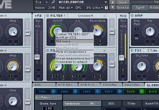 Right clicking any parameter reveals the MIDI learn menu.