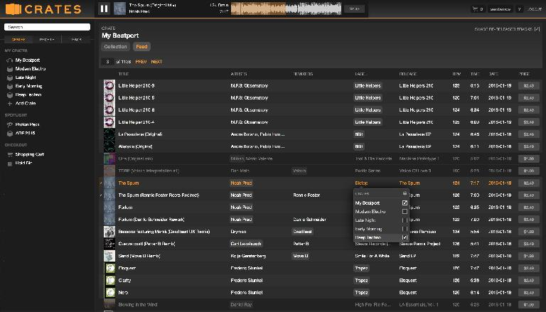 Adding Biotop Label to my Deep Techno Crate from the My Beatport feed, with re-released tracks shaded out.