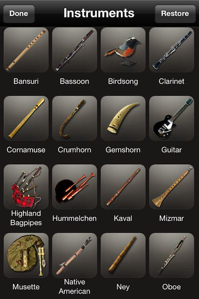 There are a wide range of instruments for Songbird through in-app purchases.