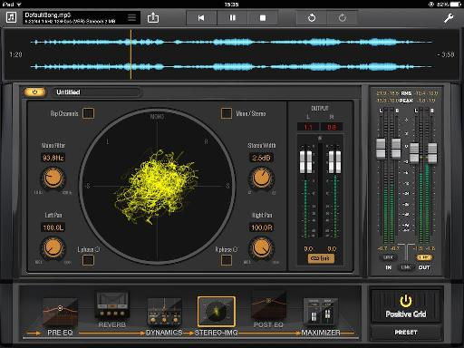 Stereo widening is just one of the mastering processors available.
