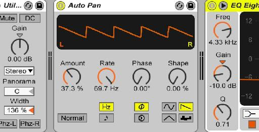 Amplitude distortion is possible through Live's Auto Pan and the tone of distortion can be further shaped by exploring the different LFO Waveform shapes at the bottom right of the device.