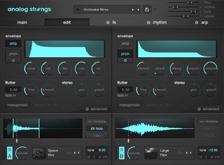 One of five screens in Output's Analog Strings.