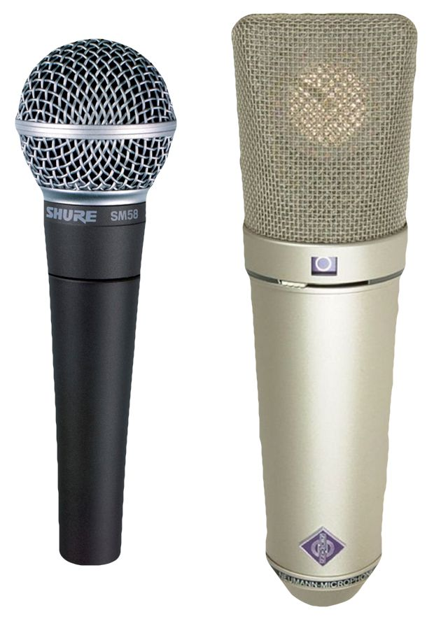 Fig 1: An SM-58 vs a typical Condenser vocal mic