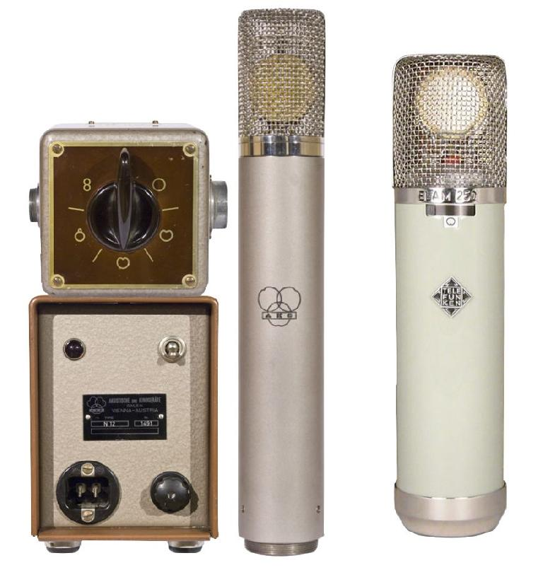 Fig 2 (L) AKG C12 (with power supply & remote pattern control); (R) Telefunken ELA M 250