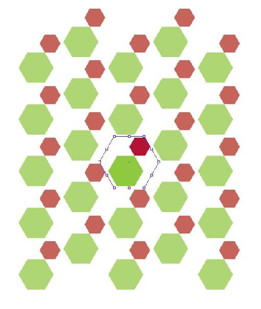 Repeating pattern in hexagons.