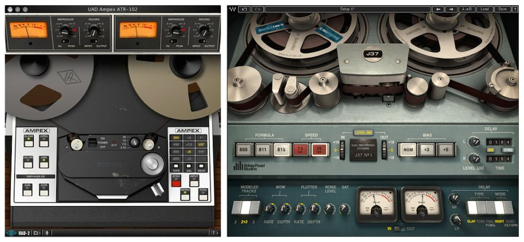 Tape simulations from UA (Ampex) and Waves (Abbey Road J37).