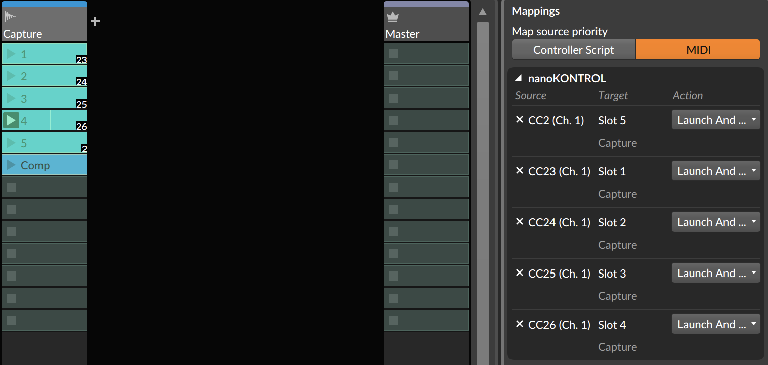 PIC 5: MIDI mapping my Clips to a Korg nanoKontrol.
