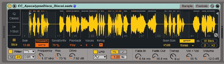 Pic 3: Slicing with Polyphonic playback and Warping engaged.