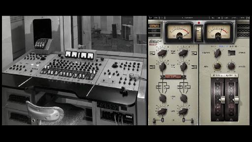 (L) An original REDD console at Abbey Road; (R) the REDD.17 plug-in.