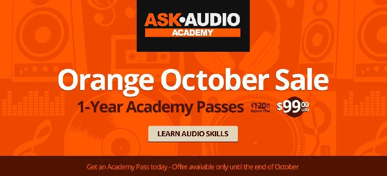Ask.Audio Orange October Sale Banner - $99 for one year access.