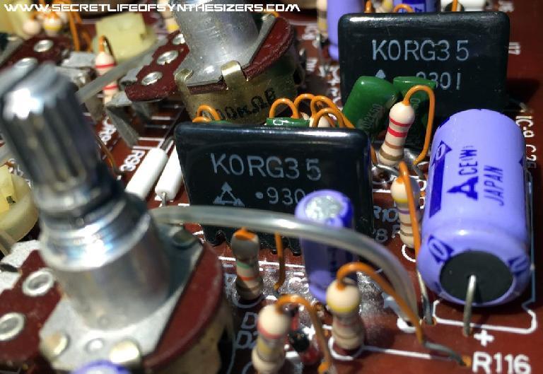 Two Korg35 chips nestled in a Korg MS20