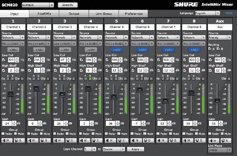 The Shure SCM820 editor, hosted from a web browser.