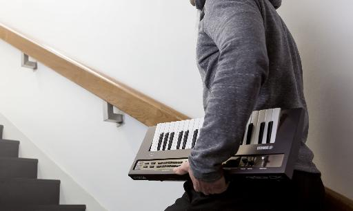 Yamaha are really emphasising the portable nature of the new reface series of mini keyboards. In this case the reface DX is going up stairs...