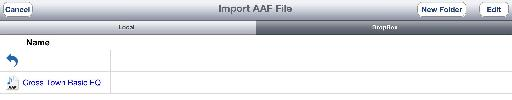 Importing an AAF project file via DropBox