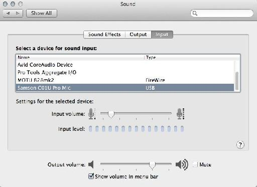 The C01U Pro in OS X Sound Preferences.