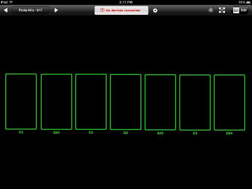 Addictive Synth is triggered to play quartal harmonies via these six rectangles.