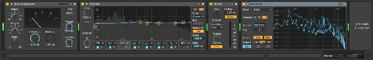 A simple master buss processing chain, with a Spectrum at the end for additional insight
