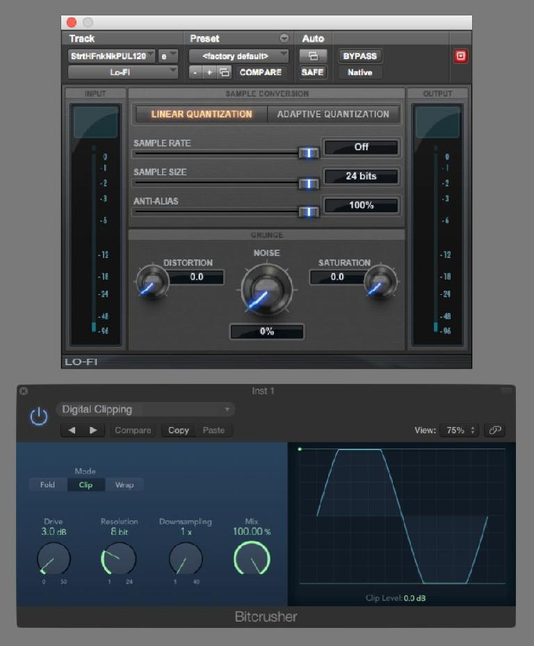 Fig 6 Pro Tools' Lo-Fi & Logic's BitCrusher provide edgy, gritty digital distortion as an alternative to analog's smooth, warm crunch