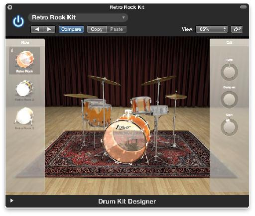 The Drum Kit Designer interface is clean and simple,  relying instead on high quality drum sounds.
