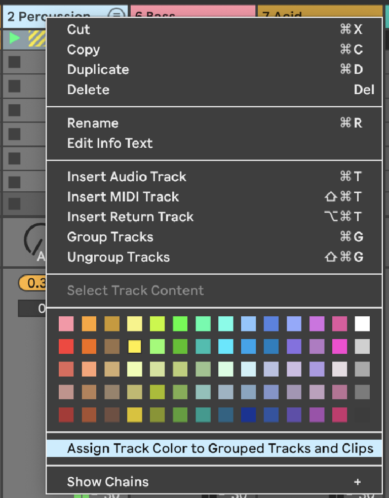 PIC 7: Automatically assigning a color to Grouped tracks via the right- or CTRL-click Track context menu.