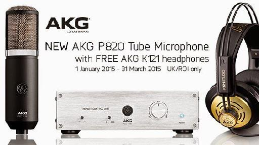 AKG UK/ROI distributor offers free AKG K121 headphones with new AKG P820 Tube Microphone until 31 March 2015