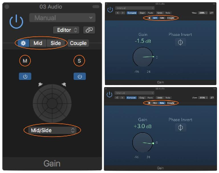 A dual-Mono plug-in (Gain) set to MS mode