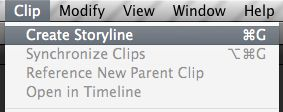 To make a secondary storyline, select a connected clip, then choose Modify > Create Storyline, or press Command-G.