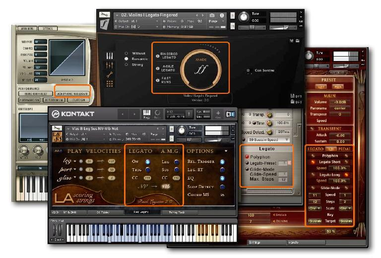 Legato transition programming options in modern sampled instruments