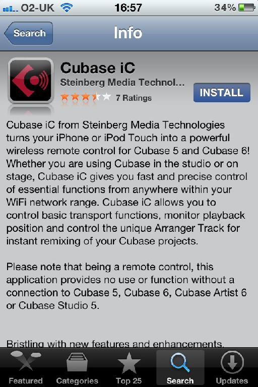 search for Cubase iC on the App Store