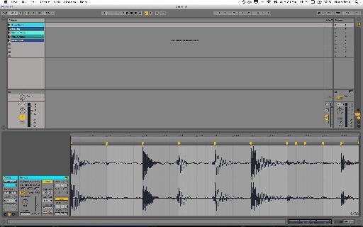 Drum Loop slowed-down, at half-time, with adjusted transient playback settings.