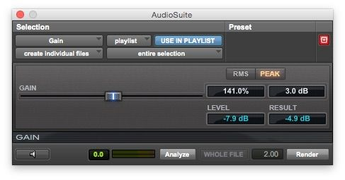 Fig 2 The Gain plug-in, with its Analyze feature.