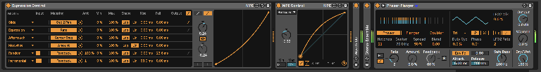 PIC 9: Live 11's new Expression control mapped to, among other things the new Phaser-Flanger effect, with the Slide curve visible for contrast to the dedicated MPE Control curve.