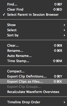 Choose 'Export Clips as Files'.
