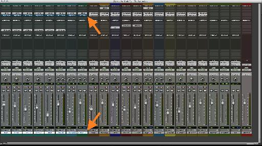 A row of Drum EQs Bypassed (for selected Tracks only, with Option-Shift).