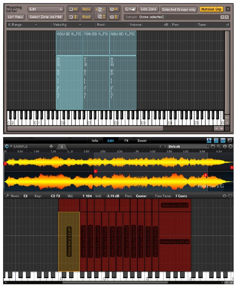 Mapping Editors in Kontakt (top) and Mach Five (bottom)
