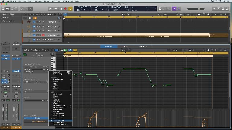 The display of Automation & MIDI controller data in the Piano Roll in Logic 10.4