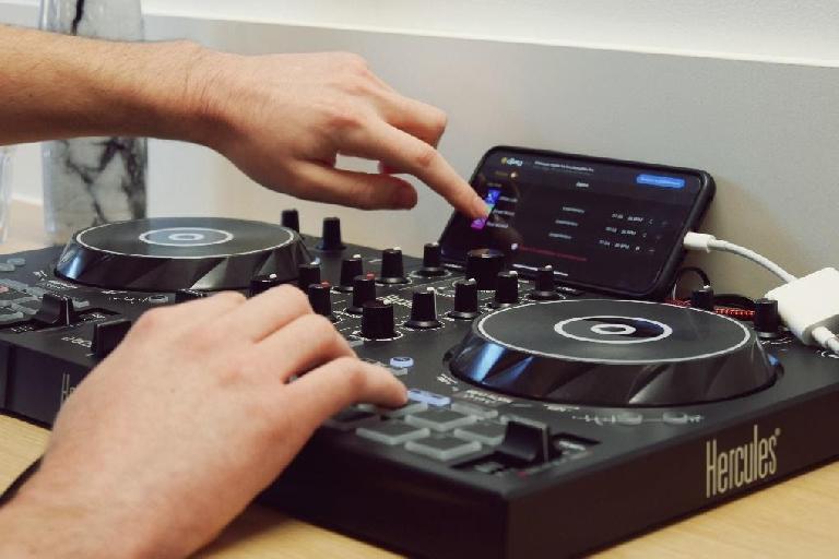 Hercules DJ controller with Algoriddim's djay app.