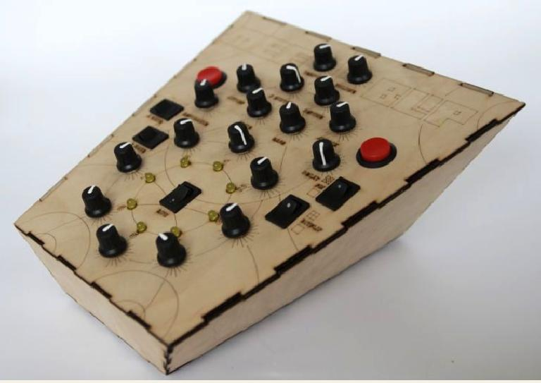 The 'Acoustic Meeblip' DIY synth, built with a laser cut and laser engraved enclosure. Source: http://www.instructables.com/id/Designing-and-building-an-synthesizer-with-Meeblip/