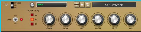 Sensible guitar amp-style controls for shaping the sound.